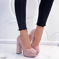 Нежно розовые туфли на каблуке