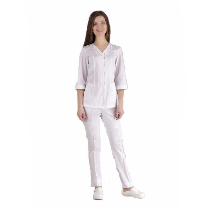 Медицинский костюм Сингапур женский белый котоновый №1044