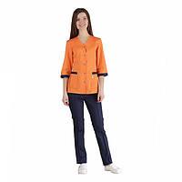 Медицинский костюм Сингапур женский комбинированный оранжевый/синий котоновый №1034
