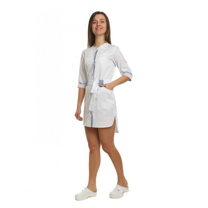 Медицинский халат женский Дели белый/светло серый №91
