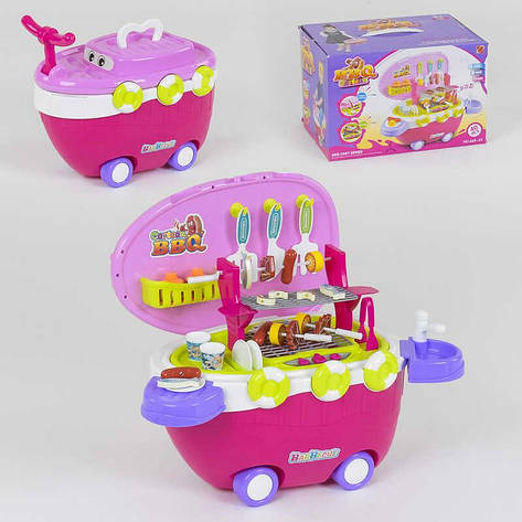 """Игровой набор 668-45 """"Барбекю"""" (12) 40 деталей, на колёсах, свет, звук, в коробке, фото 2"""