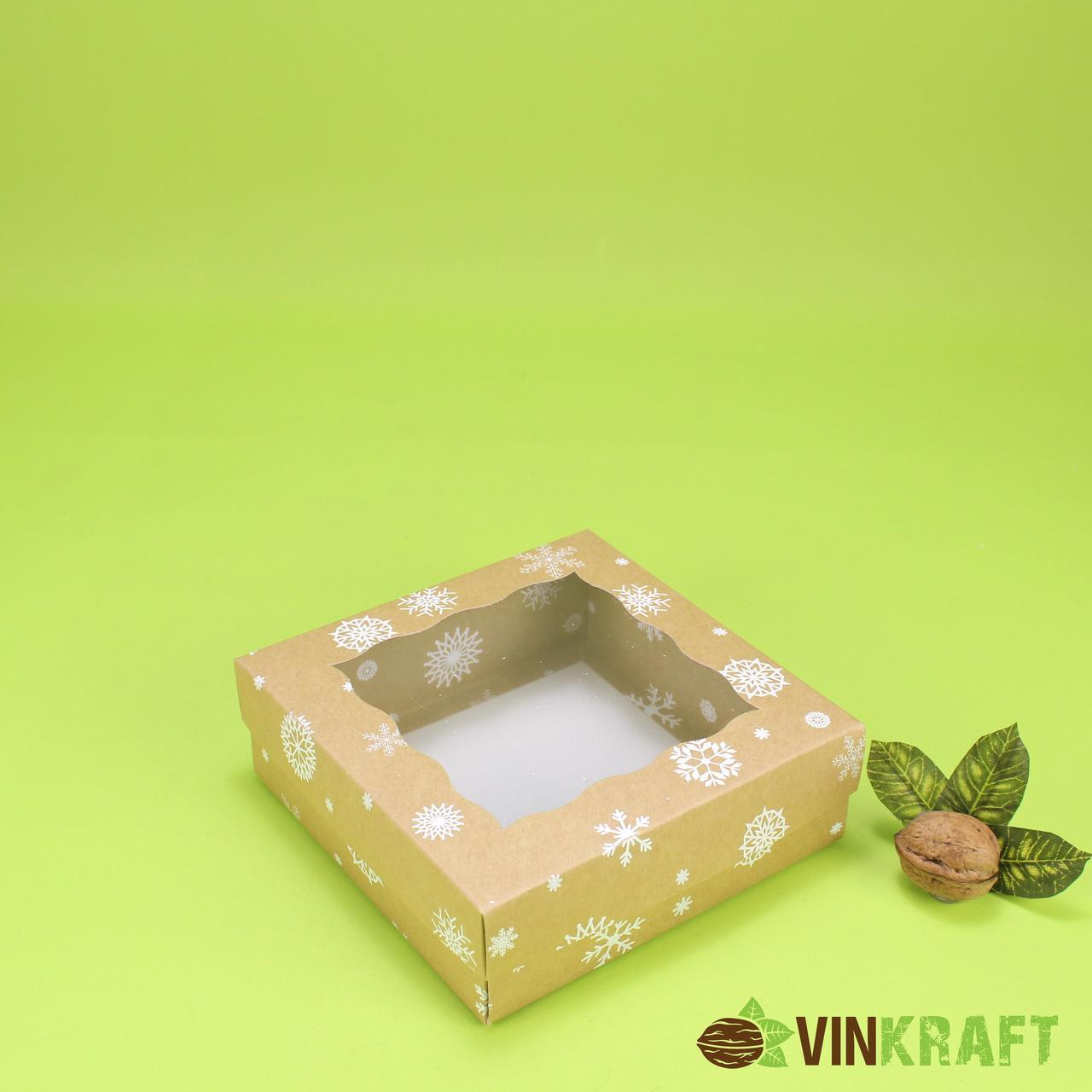 """Коробка 150*150*50 для десертів з фігурним вікном, крафт """"Сніжинка"""""""