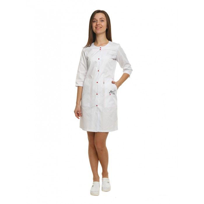 Медицинский халат женский Севилья белый/красная строчка №90