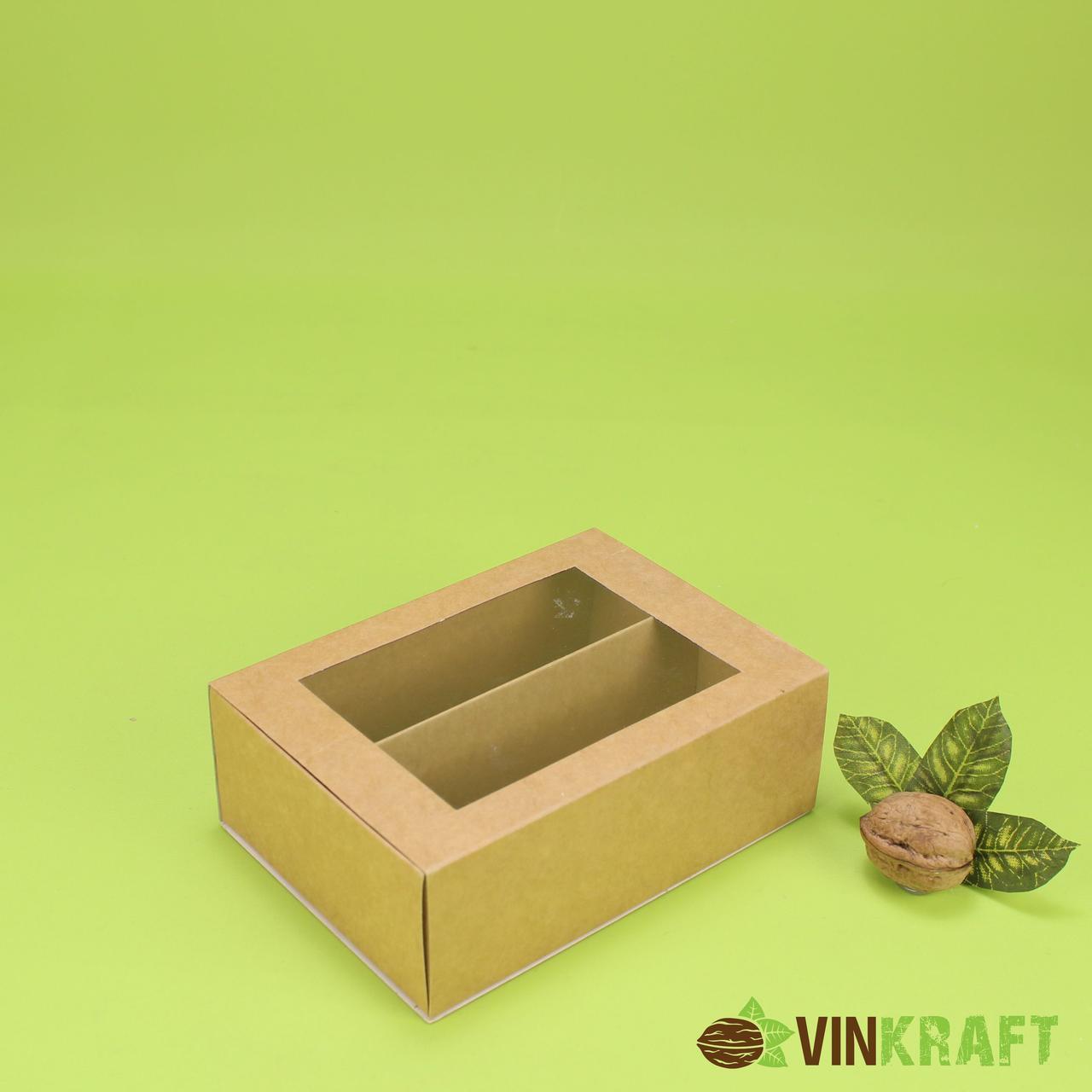 Коробка 150*100*53 для макарун з вікном (12 шт), крафт