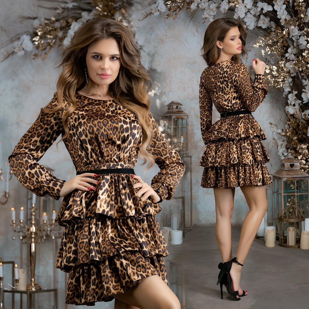 Платье вечернее, нарядное, шелковое, пышное, стильное, оборки три яруса, длинный рукав, фото 1