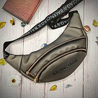 Стильная женская поясная сумочка, бананка Balenciaga, баленсиага. Графит. Турция. Vsem