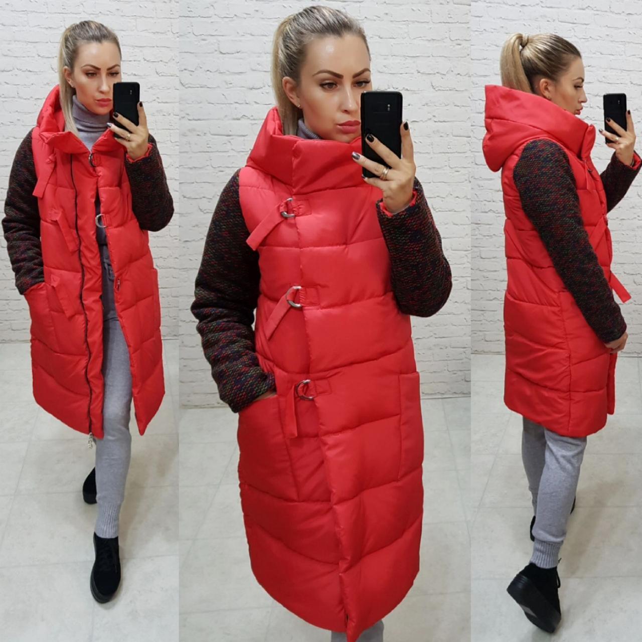 Зимняя комбинированная куртка с капюшоном, красная, арт.181