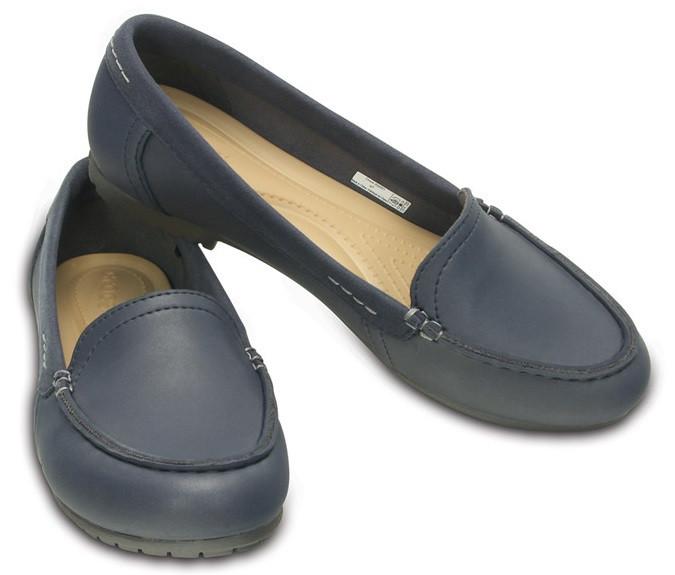 Туфли школьные для девочки мокасины лоферы Кроксы Колорлайт оригинал / Crocs Marin ColorLite Loafer Темно-синий, 36