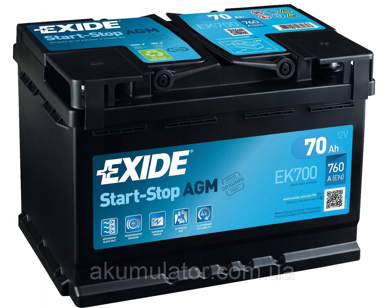 Акумулятор автомобільний  EXIDE AGM 70 (R+)