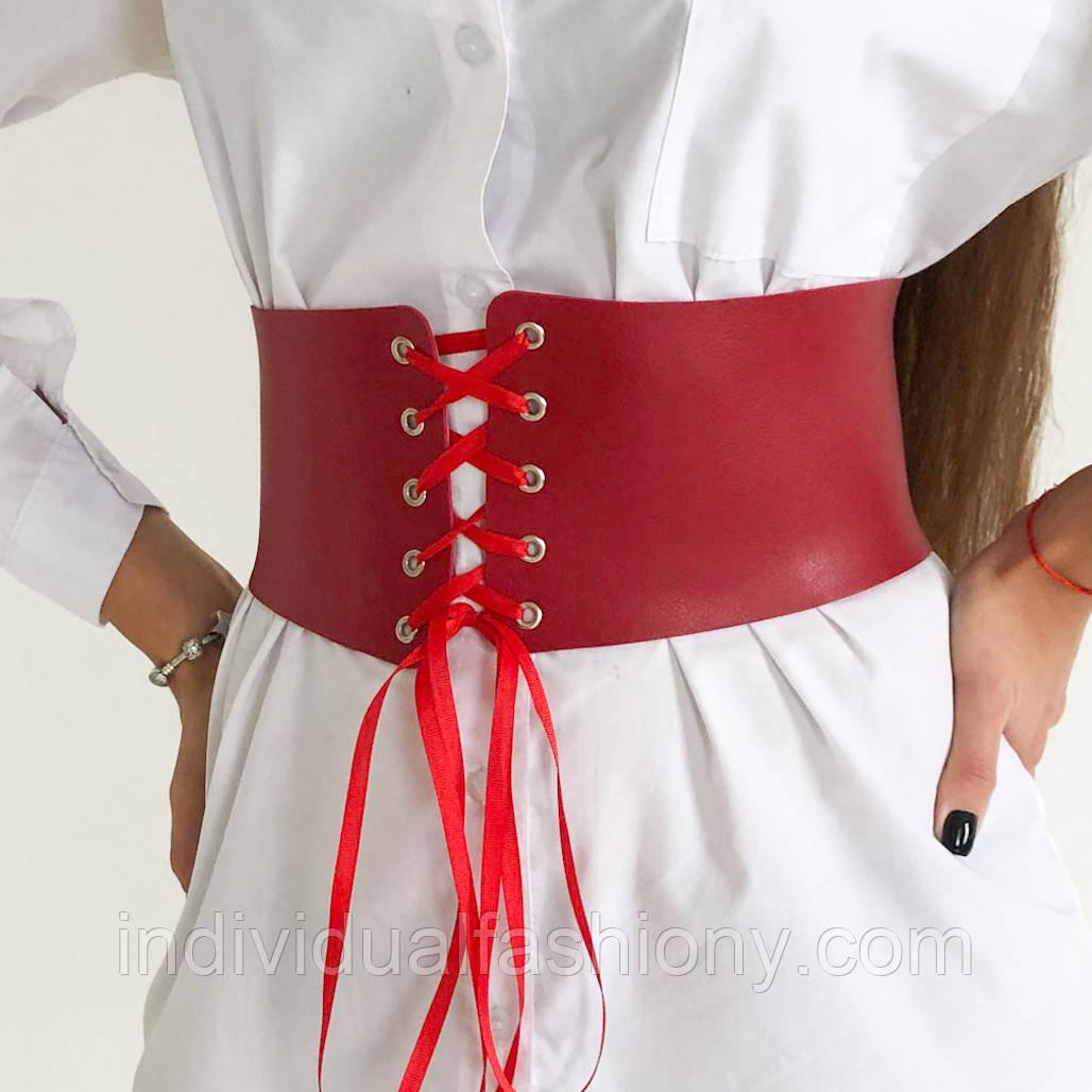 Пояс-корсет Корс на шнуровке красный