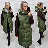 Зимняя комбинированная куртка с капюшоном, хаки, арт.181, фото 1