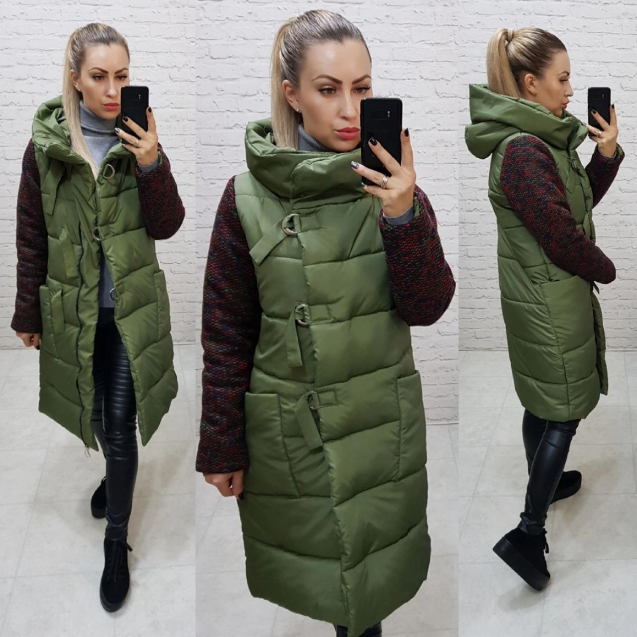 Зимняя комбинированная куртка с капюшоном, хаки, арт.181