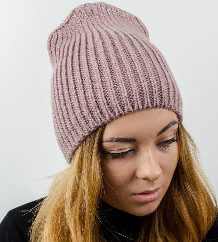 Удлиненная вязаная женская шапка с люрексом оптом , (Какао)