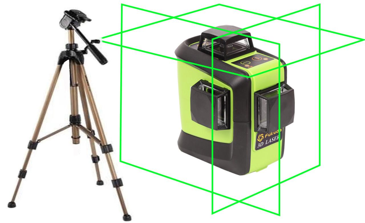 Лазерный уровень (нивелир) Fukuda 3D 93T-1 зеленый луч+штатив