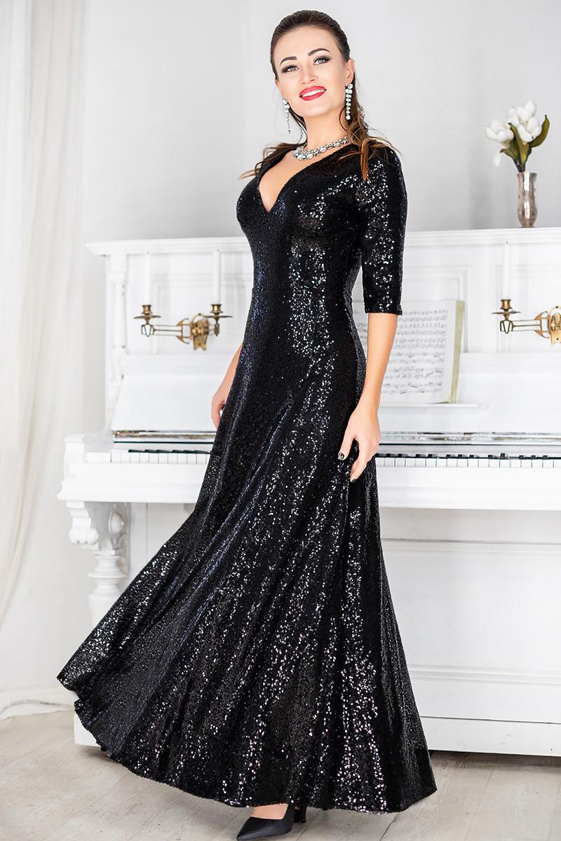 Черное блестящее платье Люкс