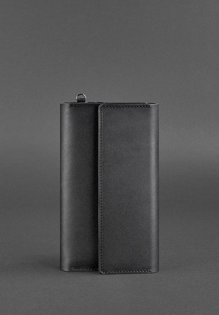 Клатч на кнопках кожаный черный BN-TK-5-1-g