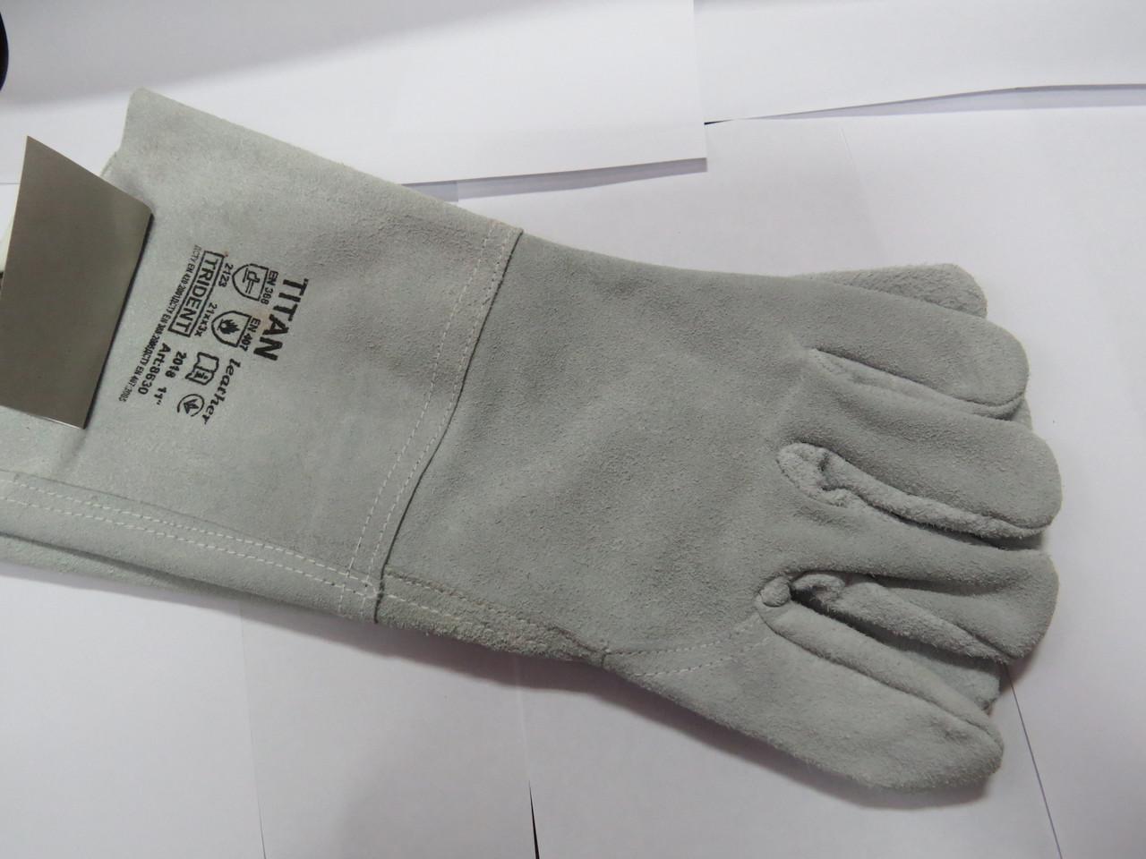 Перчатки кожаные комбинированные SEVEN