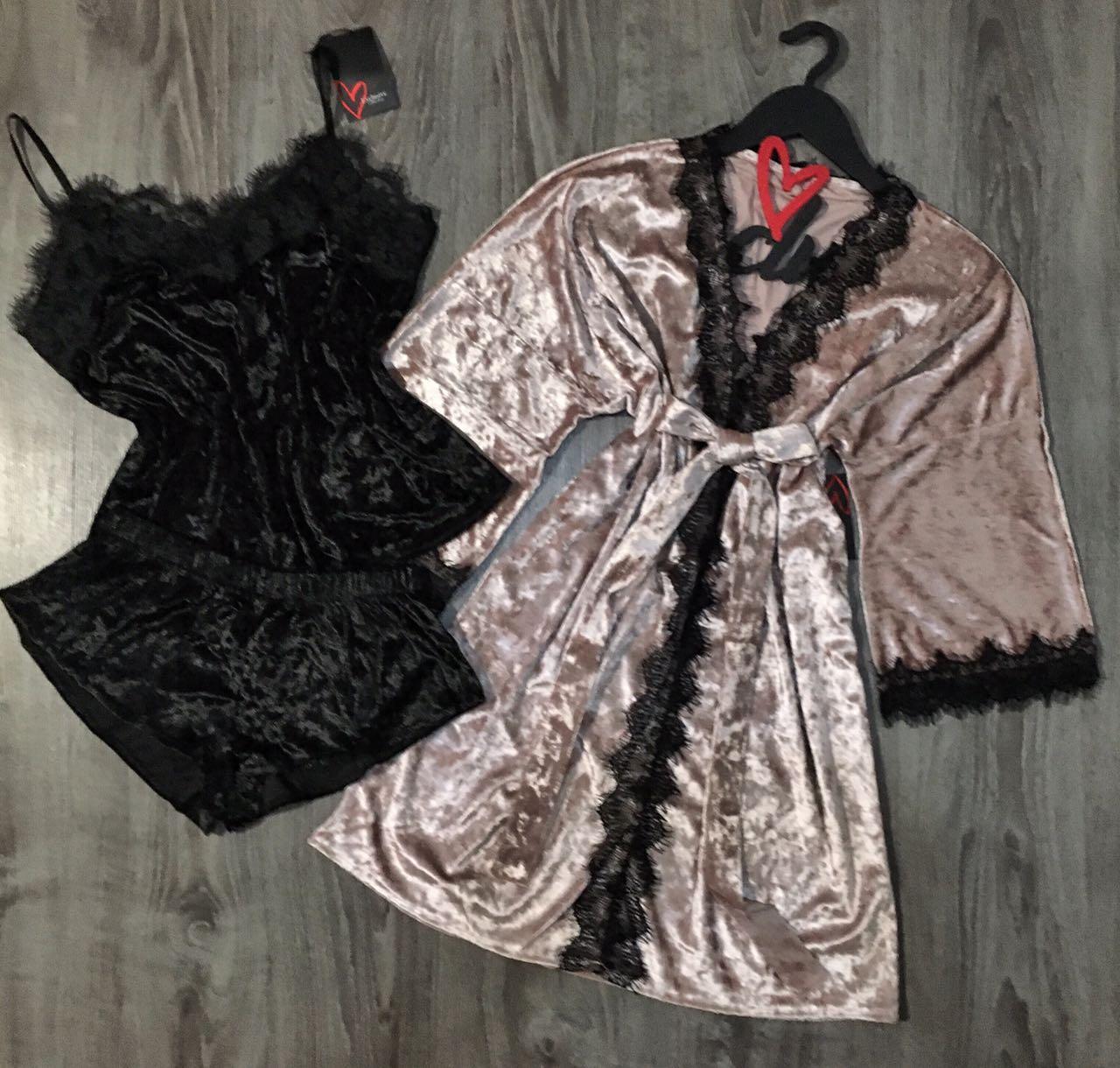 Домашняя одежда женская, велюровый комплект тройка 082-1+005.
