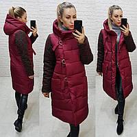 Зимняя комбинированная куртка с капюшоном, марсала, арт.181