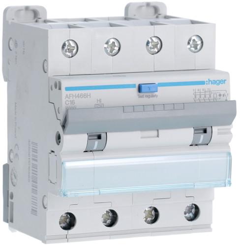 Дифференциальный автоматический выключатель Hager (ДАВ) 4P 6kA C-10A 300mA Hi (AFH466H)