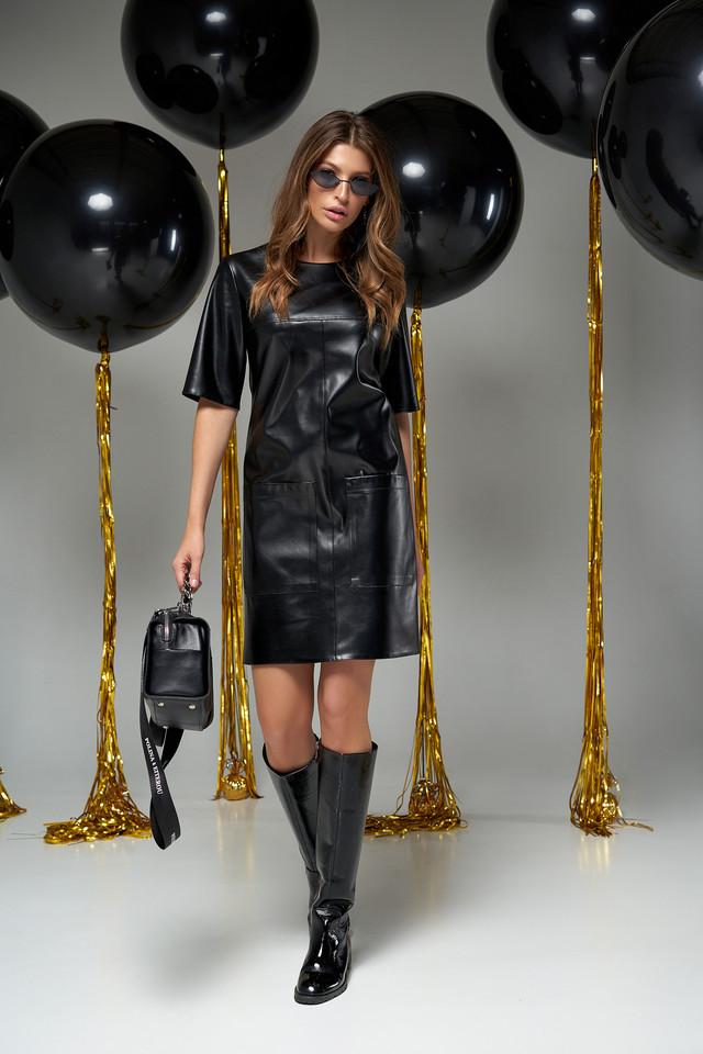 Модное чёрное женское платьеэко-кожа