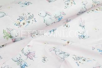 """Ткань хлопковая  """" Большие кролики в цветах """" на светло-розовом фоне  №1664"""