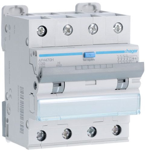 Дифференциальный автоматический выключатель Hager (ДАВ) 4P 6kA C-20A 300mA Hi (AFH470H)