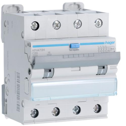 Дифференциальный автоматический выключатель Hager (ДАВ) 4P 6kA C-25A 300mA Hi (AFH475H)