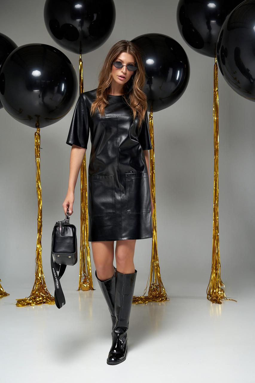 Чёрное платье экокожа прямое