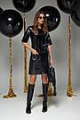 Чёрное платье экокожа прямое, фото 2