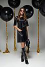 Чёрное платье экокожа прямое, фото 3