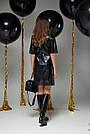 Чёрное платье экокожа прямое, фото 4