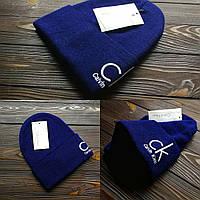 Шапка мужская Calvin Klein синего цвета. Стильная мужская шапка синяя. , фото 1