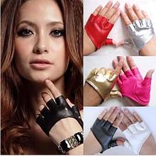 Кожаные коротенькие перчатки