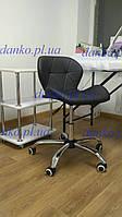 Кресло мастера маникюра на колесиках Invar Office (Инвар) ЭкоКожа черное