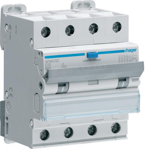 Дифференциальный автоматический выключатель Hager (ДАВ) 4P 6kA C-20A 300mA (AFM470C)
