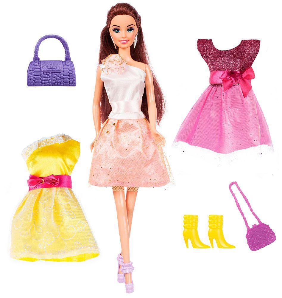 Лялька Ася брюнетка з 3 вбранням та аксесуарами, Яскравий в моді 28 см 35138