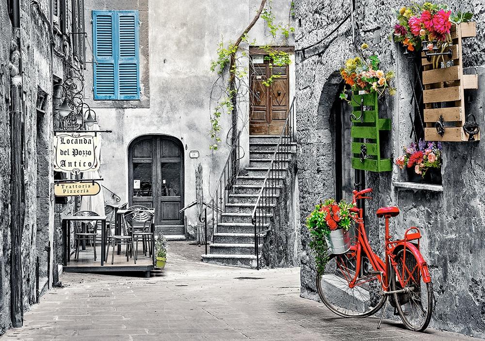 Пазлы Очаровательная аллея с красным велосипедом на 500 элементов