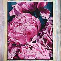 """Картины по номерам, холст на подрамнике, Цветы """"Бархатные пионы 2"""" 40*50 см, без коробки"""