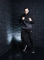 Костюм спортивный мужской теплый на флисе зимний черно серый