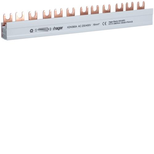 Фазная шина Hager 3P 10мм2 12M (KDN380A)
