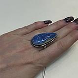 Кольцо капля опал редкий голубой опал Овайхи (Owyhee) размер 18,5-19 кольцо с опалом в серебре Индия, фото 5