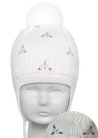 Осенняя польская шапка для маленькой девочки Barbaras с натуральным мехом р-ры 42-44