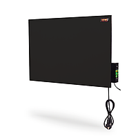 Панельний керамічний електрообігрівач з терморегулятором DIMOL Maxi 05 (чорний - скло), фото 1