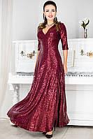 Бордовое платье с пайетками Люкс