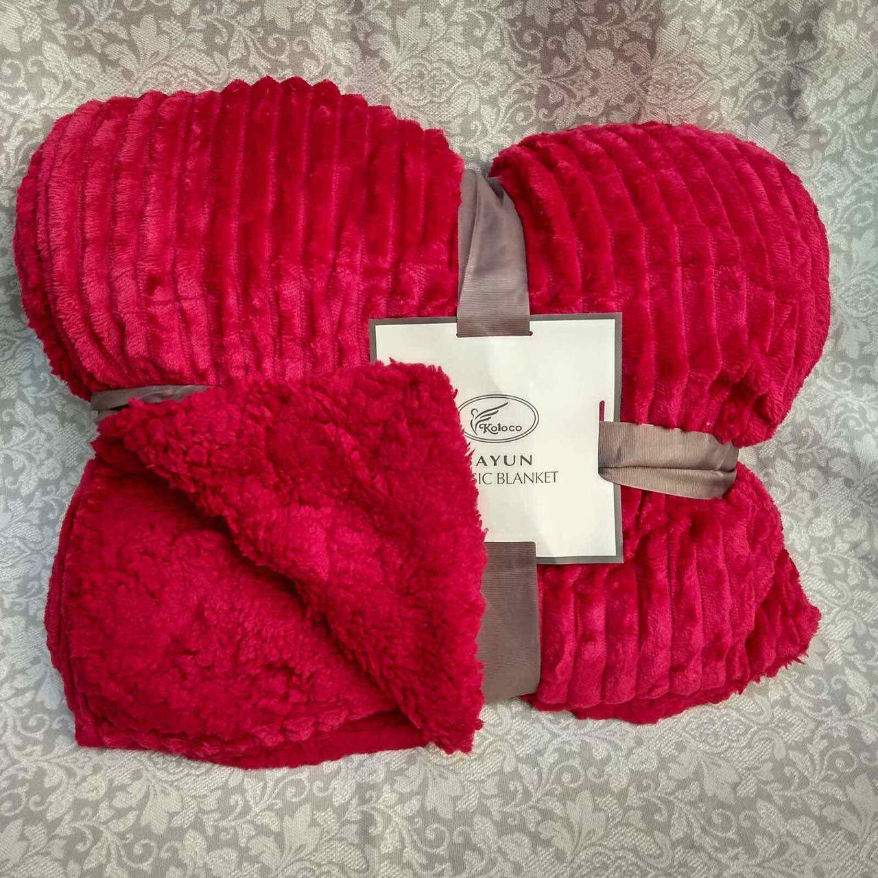 Бамбуковый плед - покрывало полоса двойное с отворотом на овчине цвет красный