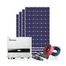 Комплект для Сетевой системы на Солнечных Батареях, 3 кВт, 220В, Growatt 3000 S + Amerisolar