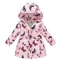 Деми куртка для девочки Бабочки, розовый Jomake