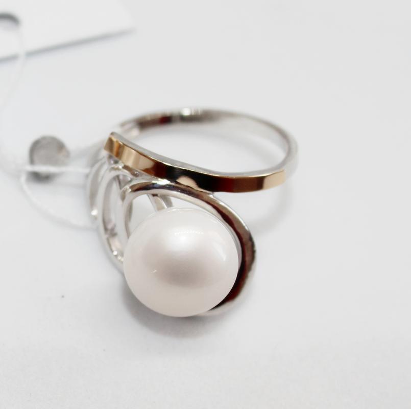 Кольцо с белым жемчугом из серебра Ирма