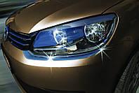 Volkswagen Caddy 2010-2015 гг. Накладка на фары (2 шт, нерж)